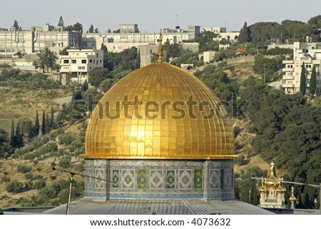 golden dome mosque in jerusalem - stock photo