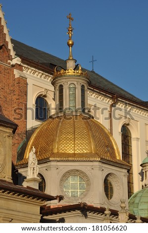 Golden dome of the Chapel at Cathedral in Cracow Poland - stock photo