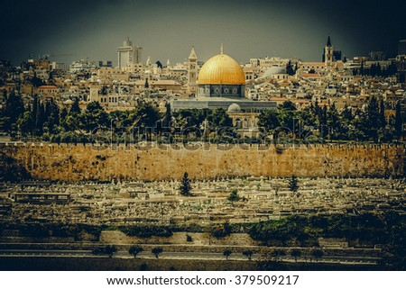 golden Dome of the Rock and church steeples on the skyline of the Old City of Jerusalem