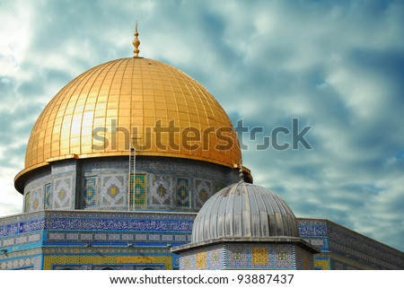 golden dome of the sky against the backdrop of the terrible - stock photo