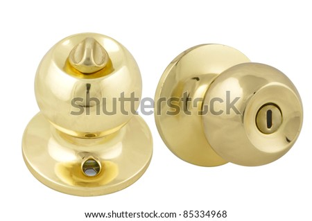 Golden Door handle Gloss isolated on white