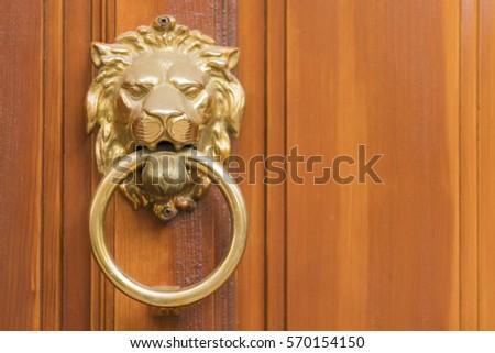Golden door knocker in the shape of lion with ring on a wooden door & Golden Door Stock Images Royalty-Free Images \u0026 Vectors   Shutterstock Pezcame.Com