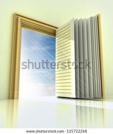 golden doorway with book door with blue sky illustration - stock photo