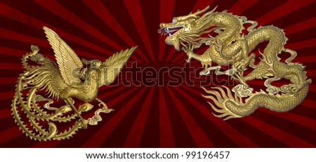 golden dragon and golden phoenix on sun graphic background