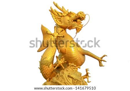 Golden Dragon fish on isolate white background. - stock photo