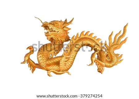 Golden Dragon isolated on white background - stock photo