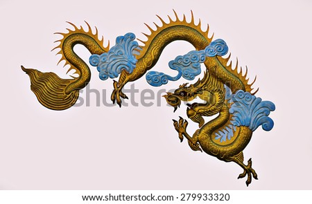 golden dragon Made from plaster isolate on white background. - stock photo