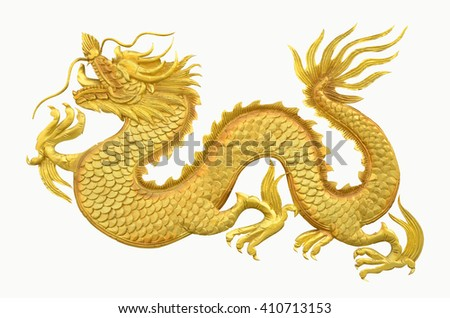 Golden dragon on white background