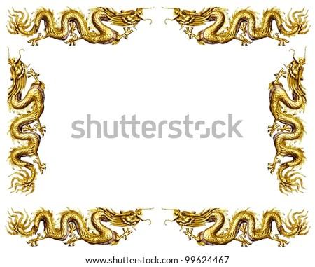 golden dragon on white background dragon frame - Dragon Frame