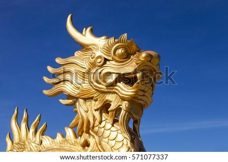 Golden Dragon statue in Hue, Vietnam