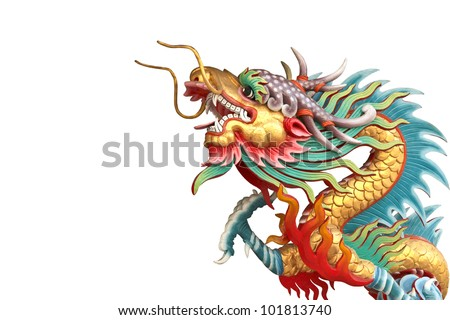 Golden dragon statue in white isolate