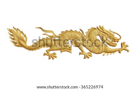 Golden dragon statue on white background
