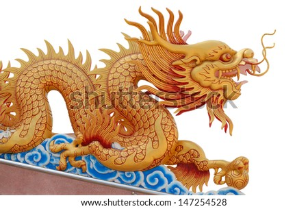 Golden dragon statue on white background in Ratchaburi province, Thailand , photo from the temple which is public space.