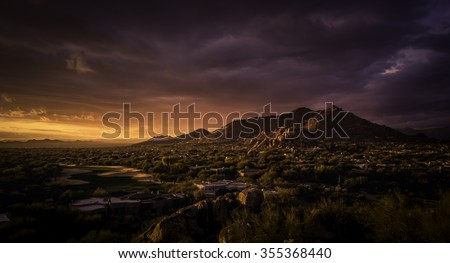 Golden dramatic sunset over North Scottsdale,Arizona,USA