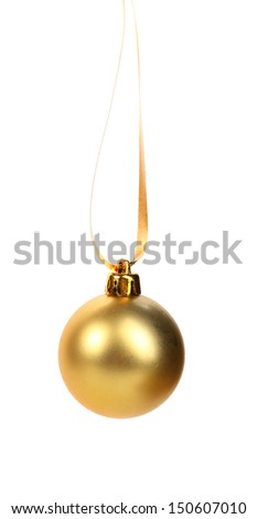 golden dull christmas ball on a white background - stock photo