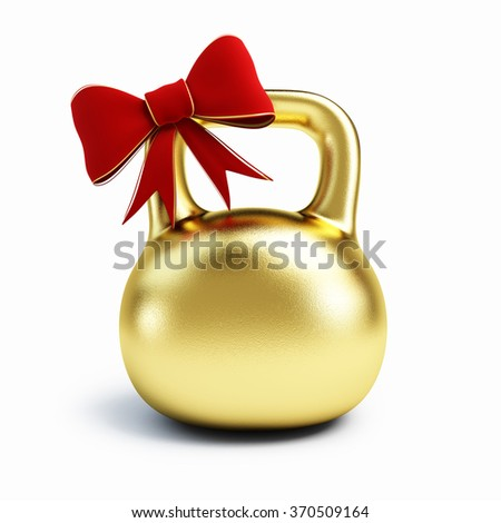 Golden Dumbbell gift Isolated on white background.