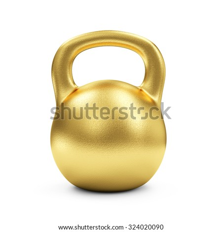 Golden Dumbbell Isolated on white background. Concept of Success. Sport and Recreation Concept. - stock photo