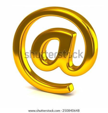 Golden e-mail symbol on a white background - stock photo