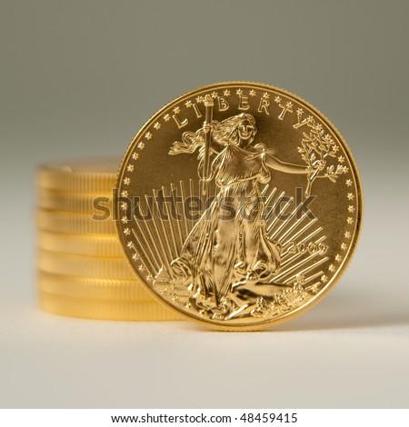 Golden eagle gold bullion - stock photo