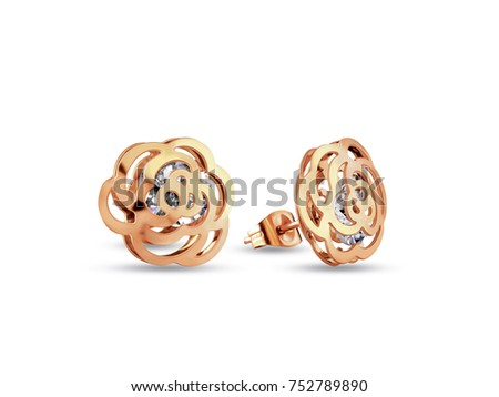 Golden Earrings Small Size Flower Shape Stock Photo Royalty Free