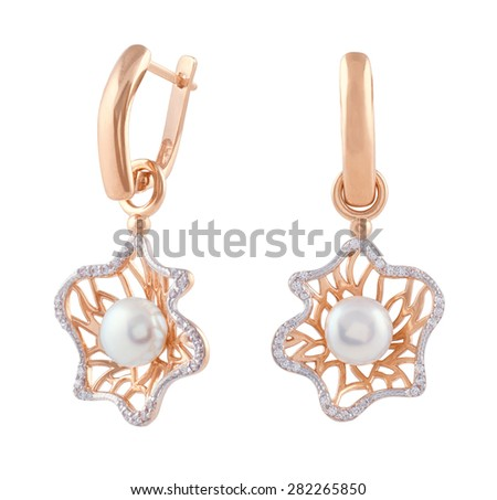 Golden Earrings with Diamonds and Pearl on white background - stock photo