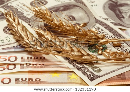 Golden ears of wheat on the dollar and euro banknotes - stock photo