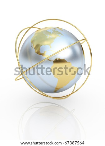 Golden earth  the communication symbol. America. - stock photo