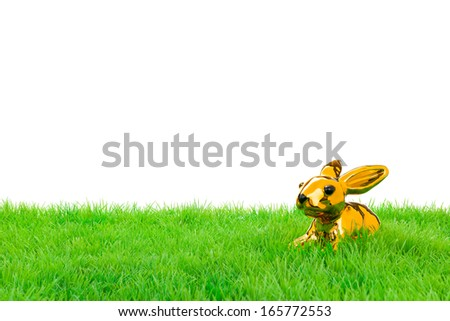 Golden easter bunny, sitting in bright field. Isolated on white.