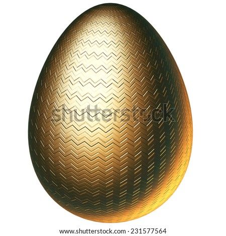 golden easter egg 3d rendering with clipping path - stock photo