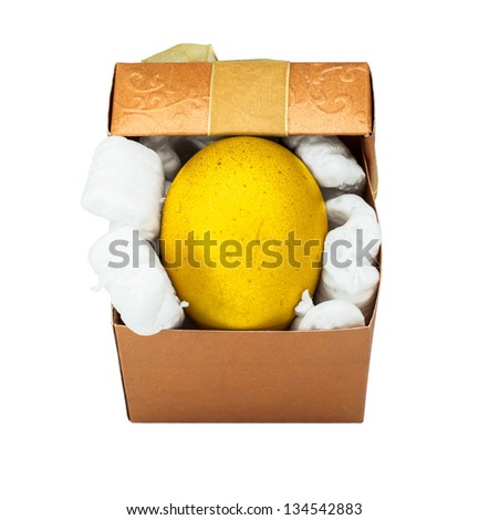 Golden easter egg in a gift box,isolated on a white