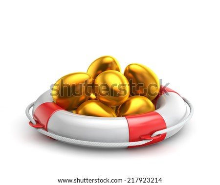 golden easter egg inside lifebuoy isolated white background with clipping path - stock photo