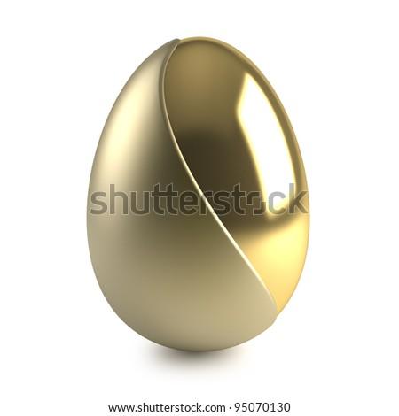golden easter egg on white background - stock photo