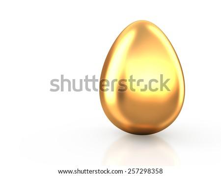 Golden Easter egg on white reflection background. Conceptual 3d illustration - stock photo