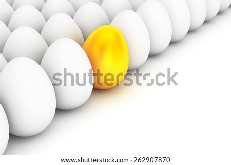 Golden Easter Egg standing out from the white eggs on a white background - stock photo