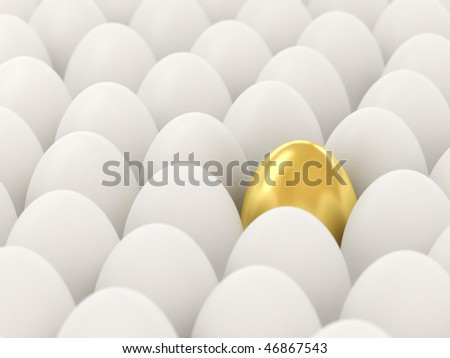 Golden egg among the white. 3d illustration. Focus on the golden egg.