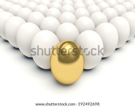 Golden egg among white eggs. 3d render illustration. - stock photo