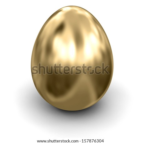 Golden Egg (clipping path included) - stock photo