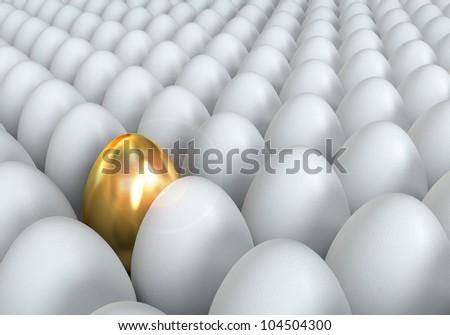 Golden egg, conceptual illustration, 3d render - stock photo
