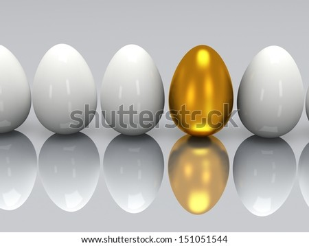 golden egg in a row of the white eggs - stock photo