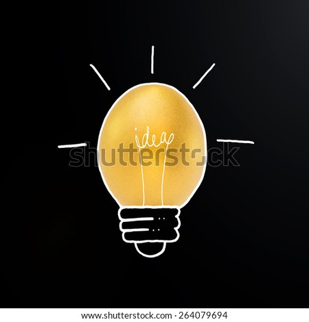 Golden egg in light bulb hand drawing line with the word idea inside: Creative idea concept of light bulb in form of a golden egg: A golden egg opportunity concept of fortune a chance to be rich    - stock photo