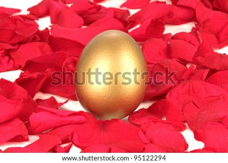 Golden egg on a bed of rose petals - stock photo