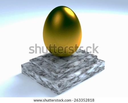 golden egg on a marble pedestal - stock photo