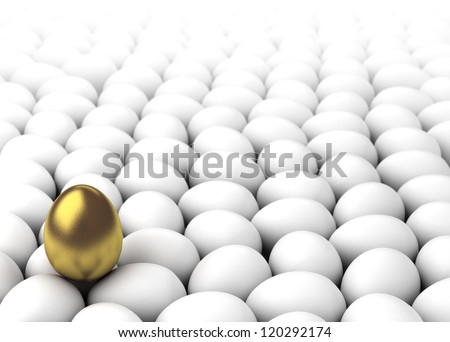 Golden egg on the other whites (Computer generated image) - stock photo