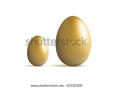 golden egg small and large for comparison of growth - stock photo