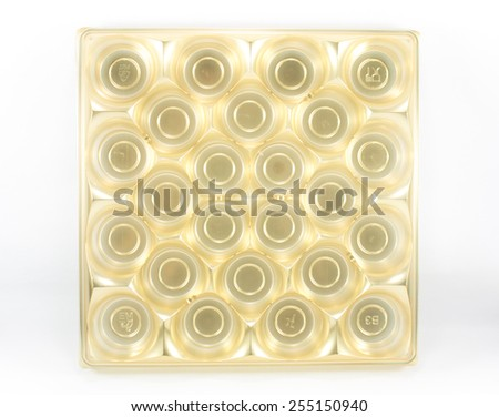 Golden egg tray isolated on white (Top view) - stock photo