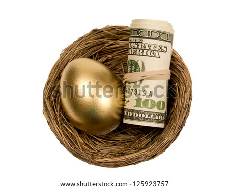 Golden Egg With Roll Of Money In Nest Isolated On White