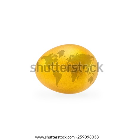 Golden egg with world maps: A golden egg opportunity concept of fortune and a chance to be rich: Easter celebration - stock photo