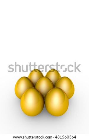 Golden eggs. Conceptual illustration. Available in high-resolution and several sizes to fit the needs of your project. Background layout with free text space. Isolated over white. 3D illustration