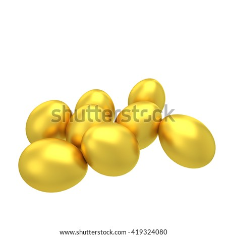 Golden Eggs on Isolated with clipping path 3d Render