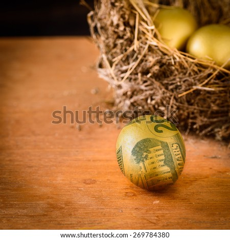 Golden eggs with dollar, wealth concept. - stock photo